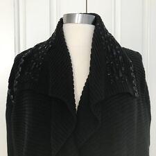 Kobi Halperin Women's XL Chunky Black Open Front Cardigan Sweater faux leather