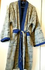 WWI Spad Fighter Biplane Outer Terry Cloth Inner Men's Bathrobe sz L Turkey Made