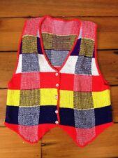"Vintage 70s Super Bright Primary Colors Plaid Knit Soft Acrylic Sweater Vest 32"""