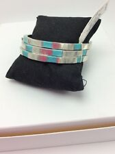 $34.50 Lucky Brand Turquoise Inlay Bangles Silver Tone 802a
