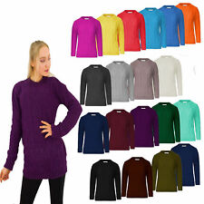 Women  Knitted Crew Neck Long Sleeve Ribbed Cable Knit Jumper Chunky Sweater Top