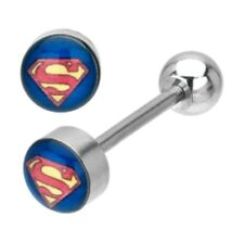 Superman Tongue Ring Stainless Steel Body Jewelry - 14 Gauge - US Shipping