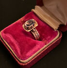 Authentic Antique Victorian Genuine Amethyst 14k Rose Gold Intricate Ring