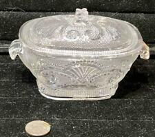 RARE Antique Sandwich Lacy Toy Flint Glass Large Tureen, c. 1835