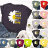 Womens Daisy Short Sleeve Tee Loose Basic Blouse Shirt Pullover Ladies Plus Tops