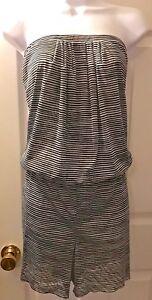 CYNTHIA ROWLEY Romper Striped Jumpsuit Black White Mesh Strapless Swim Cover L