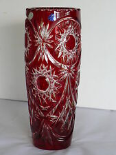 Gorgeous RUBY RED, 29 cm high, Cut to clear Overlay Cased Crystal Vase, RUSSIA