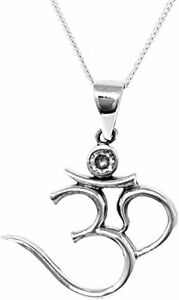 Beautiful Silver Ohm OM Pendant Necklace on Chain Yoga Pendant Necklace