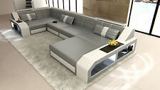 Modern Corner Sectional Sofa AREZZO U with LED Lights - colour selection