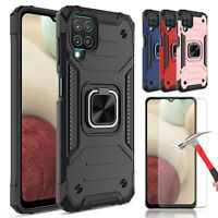 For Samsung Galaxy A12 Shockproof Ring Stand Armor Case Cover / Tempered Glass