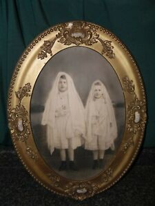 Antique Portrait 1913 Charcoal Pencil Drawing Gilt Frame First Communion 2 Girls