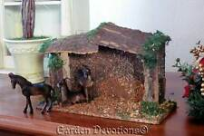 """9""""W x 7""""H MOSSY BARK WOODEN STABLE FOR NATIVITY SET 3""""-4"""" Scale Nice Wood Creche"""