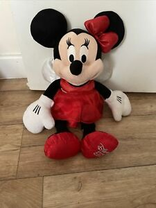 """17"""" Minnie Mouse Christmas Fairy Soft Plush Toy Disney store 2012 Red Vgc"""