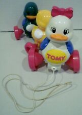 Vintage Tomy Mommy Duck & Baby Duck Pull String Toy