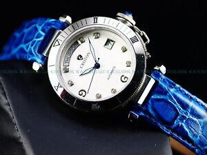 NOS Croton Mens 44mm Swiss ETA 2834 Automatic Sapphire Crystal White Dial Watch