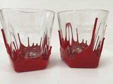 Makers Mark Drip Red Wax Set of 2 Bar Glasses 8 oz Bourbon Whisky Lowball Cups