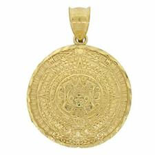 Men's 10k Yellow Gold Medium Aztec Calendar Pendant Dome Style Real Solid New