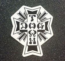 Dogtown Black/White Cross Skateboard Sticker 4in x 3.2in si Dog Town