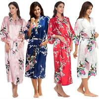 Womens Floral Long Sleeve Stain Robe Kimono Bandage Gown Soft Wedding Nightwear