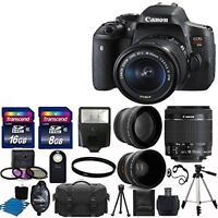 Canon EOS Rebel T6i DSLR Camera + 3 Lens 18-55 STM +24GB KIT & More Brand New