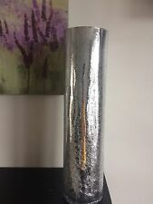 NEW LARGE SILVER MERCURY CRACKLE MIRRORED GLASS VASE 39cm New