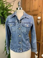 LADIES VINTAGE GAP DISTRESSED STONEWASHED SHORT BLUE DENIM SKINNY FIT JACKET 10