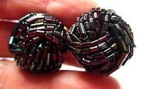 """Vintage SIGNED HOBE Black Iridescent Tube BEAD 1"""" CLUSTER Roller Clip Earrings"""