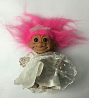 """Vintage Russ 5"""" Troll Doll - Wedding Dress Gown Bride Lace Dress With Pink Hair"""