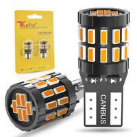 30 SMD LED Indicator Bulbs T10 501 W5W 3014 158 Xenon Amber/Orange CANBUS Pack 2