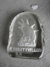 "Unique Etched Glass Liberty Island Paperweight Figurine 3 3/4"" Tall LOOK"