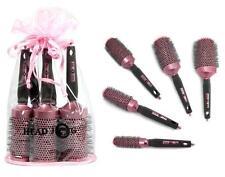 Headjog Hairdressing Brushes + Bag Set of 5 Pink Round Ceramic Heat Retaining