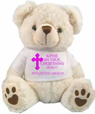 PERSONALISED WHITE TEDDY BEAR  CHRISTENING BAPTISM HOLY COMMUNION DAY GIFTS