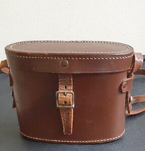 Vintage Brown Leather Binoculars Hardcase & Strap - Case Only