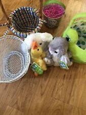 5 Easter Baskets Some With Tags Three Easter Stuffed Toys One Plays Music