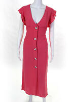 BB Dakota Womens That's Amore Button Front Midi Dress Bright Rose Pink Size 8