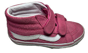 Vans Kids Sneaker Sz 10.5 Pink Leather Hearts