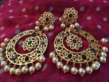 18k on4k gold Pearl Sapphire Chand Bali Baali Nizam Mughal Earrings Pachi Neelam