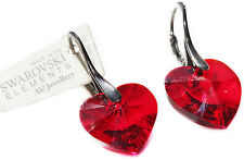 18mm Siam Red Heart Crystals From Swarovski® Black Rhodium Vermeil Earrings.