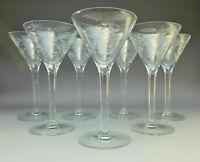 "Rare McBride Lot 7 Crystal Etched Wine Goblets 5-1/2"" Floral Cut Lattice Liquor"
