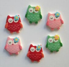 6 Owls - Resin Flatback Cabochon Embellishment for craft scrapbooking, phone bow
