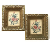 2 Vtg Floral Roses Framed Prints Ornate Gold Shabby Chic Picture Pair Small