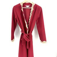 Sz Small Vintage Kayser Red Velour Robe Nightgown Housecoat Pockets Belted C006