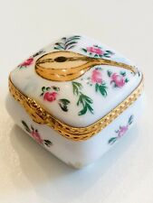 Limoges France Trunk with Viola Painted on Box Porcelain Collectible Hinged