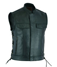 MEN'S LEATHER WAISTCOAT MOTORCYCLE SONS OF ANARCHY BIKER VESTS SIDE LACED ZIPPER