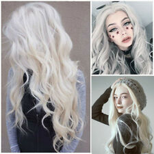 Long Natural Wavy White Gray Heat Resistant Synthetic Full Lace Front Wig 75cm