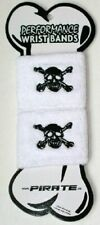 Pirate skull sweatband wristband pair sweat band WHITE