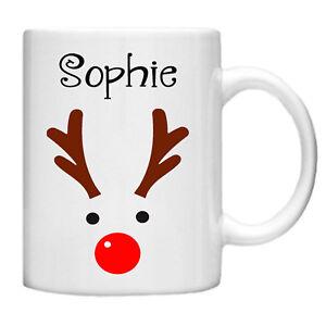 Personalised Reindeer Mug with personalised name - Gift Box Christmas Mug Gift