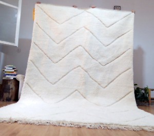 Beni Ourain Style 10.1x6.4 ft approx, Wool rug - Waves faded pattern, Handmade