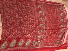 NEW INDIA saree SARI FAUX GEORGETTE RED GREEN FLORAL Unstitched Blouse USA SELL
