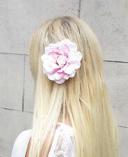 Blush Pink White Dahlia Flower Hair Clip Large Lotus Rockabilly Rose Big Vtg 997